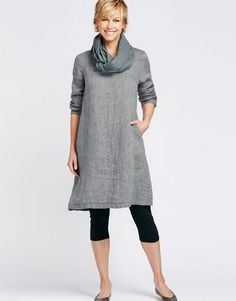 Loose fitting, casual and elegant, this linen tunic is perfectly suited to the more mature woman.  Image via Flax Designs