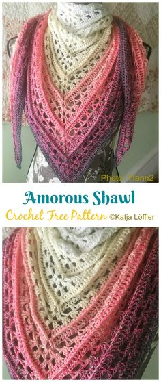 Amorous Shawl Crochet Free Pattern - crochet and knittingAmorous Shawl Crochet Free Pattern - crochet and crochet patterns (+ clothing and accessories)You will fall in love with these free crochet doll patterns. Crochet Flower Scarf, One Skein Crochet, Crochet Triangle Scarf, Crochet Scarves, Double Crochet, Crochet Stitches, Crochet Cowls, Crochet Pattern Free, Crochet Shawl Diagram