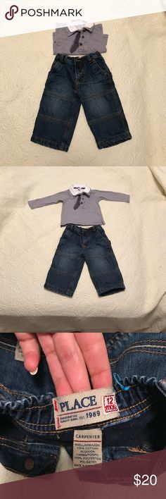 🔥Clearance sale🔥 kids clothes jeans& top nice baby jeans PLACE and long sleeve tee with tie emblem 12 m used in perfect condition. jeans are warm and soft. 100 cotton. Pet and Smoke free home Chicco Matching Sets