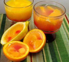 Gelatinas de jugo natural de naranja y limón amarillo