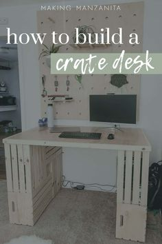 Everyone is working from home these days and desks are at a shortage! Learn how to build your own easy desk out of crates for your home in this post! #desks #homeoffice #homeschool #wfh #collegeliving