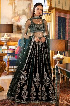 Designer Lehengas - Buy Unaisa Lehenga for Women Online - Green - Anita Dongre Indian Lehenga, Lehenga Sari, Bridal Lehenga Choli, Green Lehenga, Punjabi Lehenga, Choli Dress, Ghagra Choli, Anarkali, Sarees