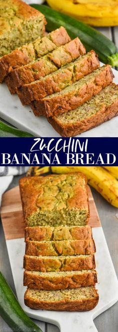 This Zucchini Banana Bread is such a simple, no rise, quick bread recipe that your family will love. Moist with a crisp exterior and the perfect balance of flavors. Zucchini Banana Bread, Strawberry Banana Bread, Bake Zucchini, Chocolate Chip Banana Bread, Breakfast Recipes, Dessert Recipes, Desserts, Milk Recipes, Paleo Breakfast