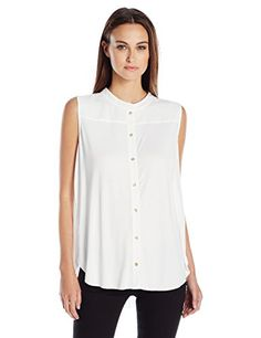 Calvin Klein Womens SL Top W Pleat Back Soft White XSmall * Want to know more, click on the image.
