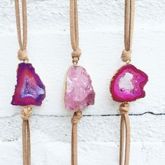 Pink druzy stone and vegan leather wrap bracelets from That's so Fletch