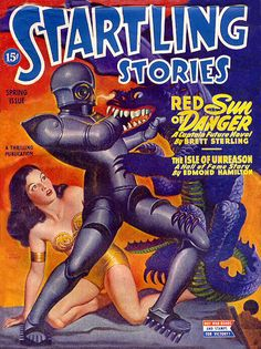 Red Sun of Danger US Pulp magazine cover Startling Stories Spring 1945 SF30