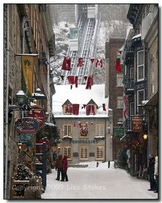 The Funicular in Place Royale, Quebec City, brings you up the mountain to Upper Quebec in a glass elevator!