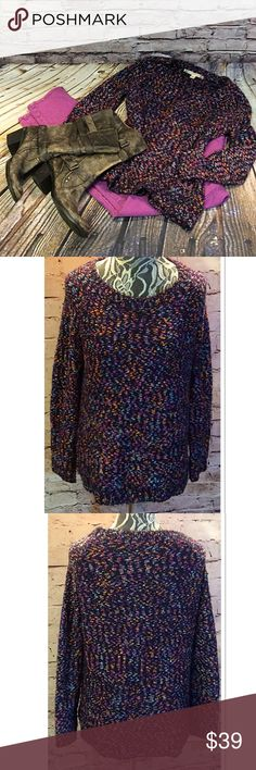 CHELSEA & VIOLET SWEATER Beautiful sweater with mingled colors of navy, pink, orange and much more. It's a loose fitting style and perfect for winter Chelsea & Violet Sweaters Crew & Scoop Necks