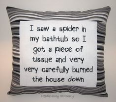 Funny Cross Stitch Pillow Black Pillow Decorative by NeedleNosey, $23.00