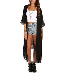 Black Lace Trim Maxi Kimono