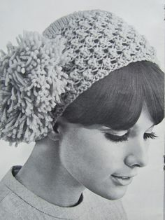 Knitted Hat Pattern - Ladies' Knit Hat with Pom Pom on the Side 1420. $3.00, via Etsy.