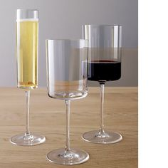 I've always loved a chic squared bottom glass - I already own the champagne flute; now I just need the red and white ones. Edge 15 oz. Wine Glass in Wine Glasses | Crate and Barrel