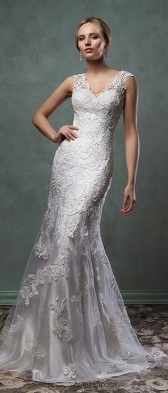 amelia sposa 2016 wedding dresses beautiful cap sleeves v scallop neckline embroidered silver white fit flare mermaid dress pia -- Amelia Sposa 2016 Wedding Dresses 2016 Wedding Dresses, Wedding Attire, Bridal Dresses, Bridesmaid Dresses, Silver Wedding Dresses, Silver Weddings, Bling Wedding, Bridal Bouquets, Wedding Flowers