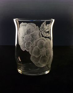 wild rose votive candle holder hand by GlassGoddessNgraving, $30.00