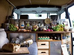 Interior design for a  DIY camper van conversion !   Our beloved kitchen, the most important part of the van. Always filled with fresh and various food to create great recipes on the road   Find them on www.radius-ulna.com