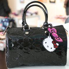 hello kitty embossed city bag - black