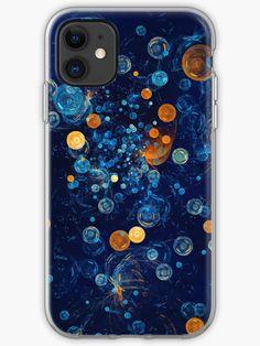 'Soapbubbles' - Digital Art Abstract in Blue and Orange by Menega Sabidussi