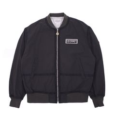 New Premium cotton / nylon zip-up C4V3MPT Jacket from Cav Empt. This classically styled piece features herringbone bindings, welt pockets, front zip closure, plus unique paneled graphic on back. - premium cotton / nylon construction...