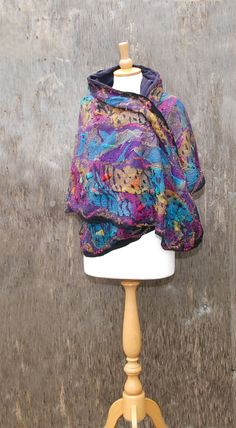 Nuno felted scarf poncho felted cape shawl nuno felted clothing silk purple black pink turquoise yellow felted art wool poncho butterfly