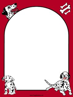 This free, printable red border features three adorable Dalmatian puppies and their chewing bones. It's great for animal lovers and pet shelters. Free to download and print.