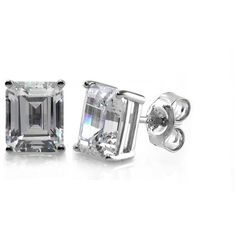 BERRICLE Sterling Silver 3.48 Carat Emerald CZ Solitaire Stud Earrings... ($45) ❤ liked on Polyvore featuring jewelry, earrings, clear, stud earrings, women's accessories, clear earrings, cz stud earrings, cubic zirconia stud earrings, sterling silver cubic zirconia earrings and emerald earrings