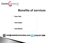 Online Document Storage •Secure document storage and web based retrieval service •Retrieve documents from anywhere at anytime •No capital and administrative investment required •No additional overhead or personnel costs Read More at - www.contentconversions.com