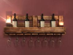 Wine glass shelf / wine rack no pallet – Heimwerker-Helden. Diy Pallet Bed, Pallet Crafts, Diy Pallet Projects, Diy Crafts, Wooden Pallets, Wooden Diy, Coffee Desk, Pallet Wine, Gallon Of Paint