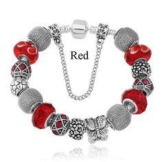 Dazzling Murano Glass Pandora Type Bracelet