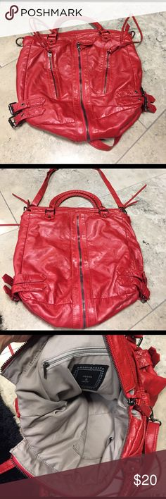 Red bag Used as a school bag to carry books. 16' long 16' wide Deena & Ozzy Bags Satchels