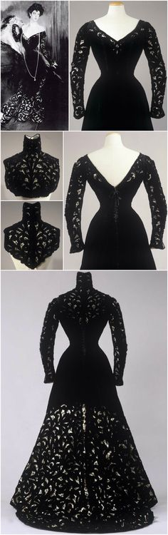 1900-1901 black silk velvet with cut-out decorations in Liberty style, garnished with chenille drawstring on the triangular neckline; Italian manufacture (Naples or Palermo). Collection Galleria del Costume di Palazzo Pitti.