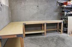 an L shaped garage workbench.