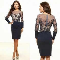 2014 fall Simple Exquisite short formal dresses Sheath Scoop Dark Navy Net/Tulle Long sleeve Beads Sequin Applique Mini Cocktail Dresses