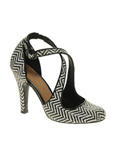 Enlarge ASOS SAVANNAH High Heeled Shoes with Weave Detail and Cross Strap