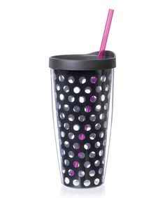Take a look at this Black & Pink Polka Dot 22-Oz. Tumbler & Straw by Black & White: Kitchen Essentials on #zulily today!