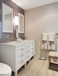 Oh such a pretty bathroom. Colors are subtle but textures make impact. Wall color is Revere Pewter, BM