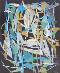 André LANSKOY (1902-1976 ) Composition Gouache sur papier marouflé sur toile . Signé en bas à droite 65 x 50 cm