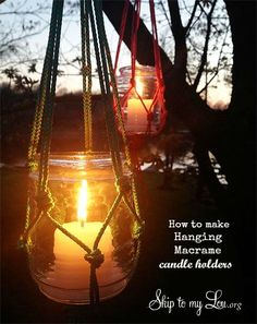 Hanging Macrame Candle Holders - this is so easy to do, will have to in some nylon cord now...