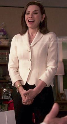 Alicia's white scalloped hem jacket on The Good Wife.  Outfit Details: https://wornontv.net/47414/ #TheGoodWife