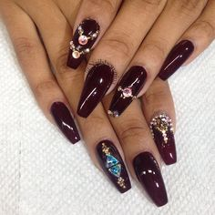 Oxblood coffin nails with bling