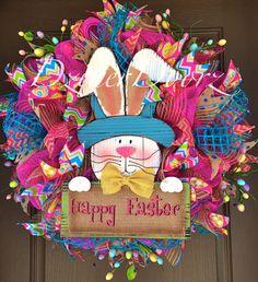 MARCH MADNESS SALE Happy Easter Bunny deco mesh by DzinerDoorz