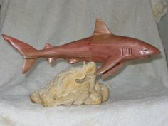 "Grey reef shark Mangrove 12"" on quartzite base #sharkwoodcarving #sharkcarving #greyreefsharkcarving #greyreefsharkwoodcarving #greyreefshark #reefshark"