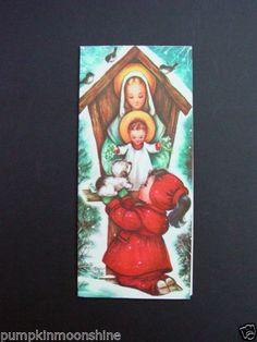 Unused-Charlot-Byj-Byi-Xmas-Greeting-Card-Christ-Blessing-Little-Girls-Puppy