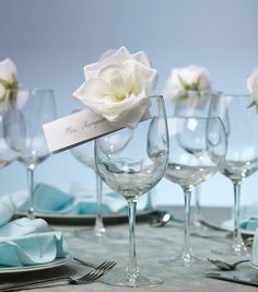 Wilton® Clip-on White Fabric Rose ~ like the idea for place cards or name tags.