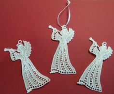 Embroidered Lace Christmas Ornament Angels by ThreadedNeedleDesign, $9.75
