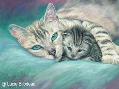 PAINTING - CAT MOM AND KITTEN #OilPaintingCat
