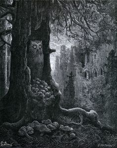Gustave Doré    Les Souris et le Chat-Huant [The Mice and the Owl], 1867    From Doré's Illustrations for the Fables of La Fontaine