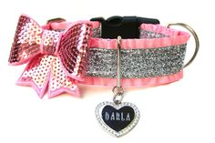 1.5 Ruffle Pink and Silver Glitter Dog Collar by Wagologie