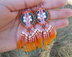 Long micro macrame earrings Tassel Fringe Orange by MartaJewelry