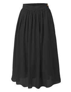 Womens Flowy High Waist Retro Double Layer Chiffon Pleated Midi Skirt