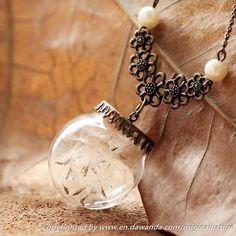 Dandelion Necklace, Vintage Pendant,Wish Jewely